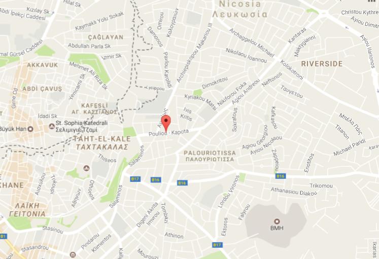 https://www.google.com/maps/place/Pouliou+-+Kapota,+Nicosia,+Cyprus/@35.1739576,33.3698659,15z/data=!4m5!3m4!1s0x14de176b6e20431b:0x634a3e8356508f65!8m2!3d35.17599!4d33.3753591